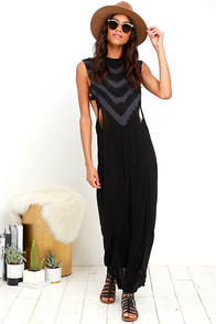 Obey Benny Black Tie-Dye Maxi Dress
