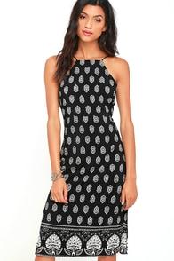 image Respeito Black Print Midi Dress