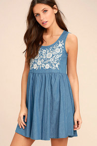 image Mary Jane Embroidered Blue Chambray Dress