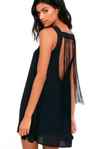 image Feeling Fierce Black Fringe Shift Dress