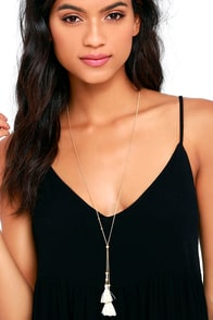 image Showtime Gold and Beige Tassel Necklace