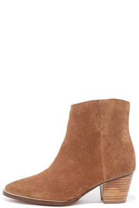 Coconuts Camilia Tan Suede Leather Pointed Booties