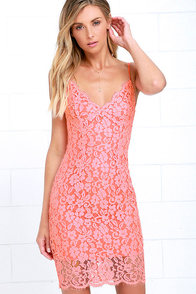 image Picture of Perfection Coral Pink Lace Dress