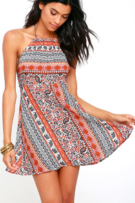Modern Market Rust Red Print Halter Dress