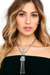 Go Bright Ahead Silver and Turquoise Layered Necklace