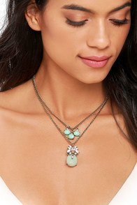 image Aria Gold and Turquoise Layered Necklace
