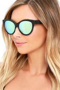 Woodzee Kourtney Blue Gold Mirrored Ebony Wood Sunglasses