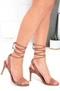 image Steve Madden Natlia Taupe Nubuck Leather Lace-Up Heels