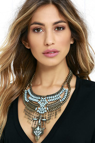 Cure-All Gold and Turquoise Statement Necklace