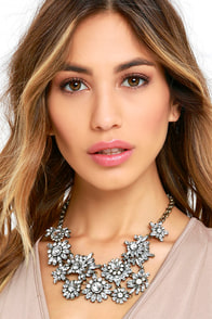 Dramatic Burst Gold and Clear Rhinestone Necklace