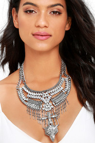 Cure-All Silver and Clear Statement Necklace