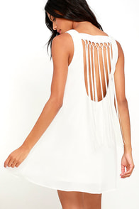 Feeling Fierce Ivory Fringe Shift Dress