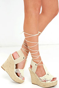 MIA Filipa Off-White Platform Espadrille Wedges