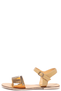 Terrain Dance Tan Beaded Flat Sandals