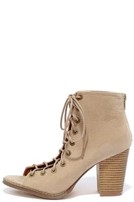 image Wild World Beige Suede Lace-Up Booties