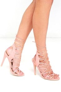 image Heartstrings Peach Suede Lace-Up Heels