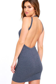 image Flaunt What You Got Denim Blue Backless Bodycon Dress