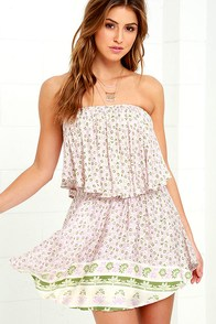 image Gonna Be Bouquet Pink Floral Print Strapless Dress