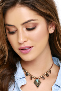 image Temple Fun Gold and Brown Choker Necklace