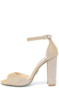 Betsey Johnson Carly Gold Glitter Heels Image