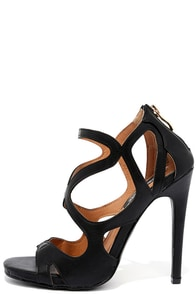 Starry Night Black Caged Heels