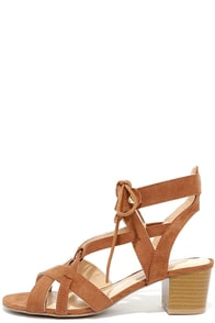 image Hip to This Camel Suede Heeled Sandals