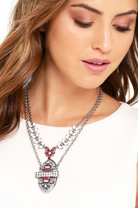 image Tower of Jewels Silver and Pink Rhinestone Necklace
