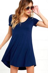 Better Together Navy Blue Shirt Dress