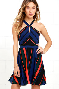 image Days of the Week Black Striped Dress