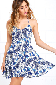 image Wonderful Ways Ivory and Blue Print Skater Dress