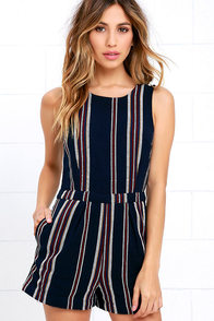image Olive & Oak Driftwood Dreamer Navy Blue Striped Romper