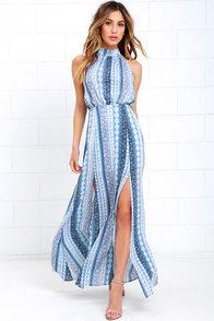 image Daily at Dawn Light Blue Print Halter Maxi Dress