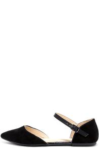Special Interest Black Suede Ankle Strap Flats