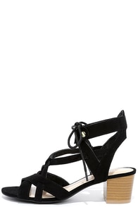 image Hip to This Black Suede Heeled Sandals