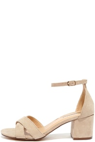 image Pretty Much Natural Suede Heeled Sandals
