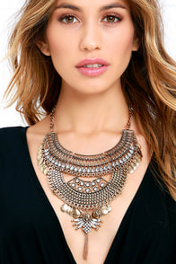 image Thoughtfulness Gold Statement Necklace