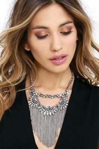 image Radiant Reminder Silver Rhinestone Statement Necklace