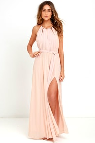 Gleam and Glide Blush Pink Maxi Dress