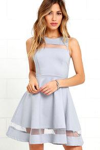 Sheer Determination Blue Grey Mesh Skater Dress