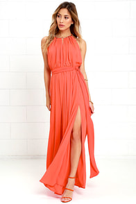 Gleam and Glide Orange Maxi Dress