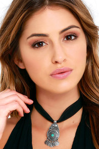image Lady Mystic Black and Silver Choker Necklace