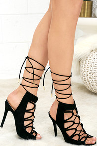 image Chic in the City Black Suede Lace-Up Heels