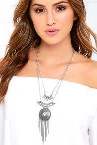 Meditation Station Silver Layered Necklace