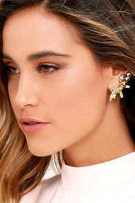 image Spun-shine Gold and Yellow Rhinestone Ear Cuffs