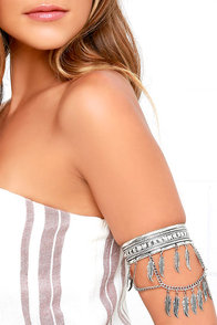 image Feather Step Silver Arm Cuff