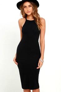 Billabong Warm Embrace Black Bodycon Midi Dress