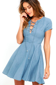 Always Wonder Blue Chambray Lace-Up Skater Dress at Lulus.com!