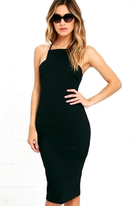Elliatt Cheryl Black Bodycon Midi Dress