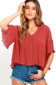 Love for You Rust Red Pleated Top