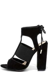 image Unstoppable Stunner Black Suede High Heel Sandals